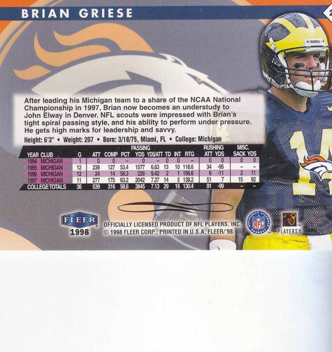 1998 fleer tradition rookie brian griese qb broncos