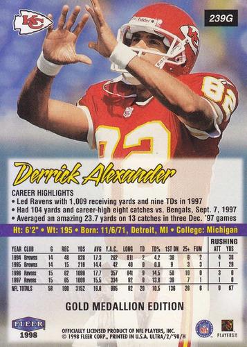 1998 fleer ultra gold medallion derrick alexander wr chiefs