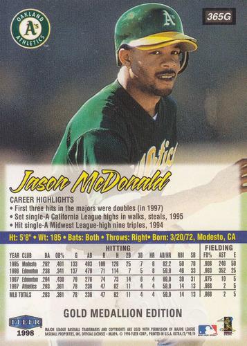 1998 fleer ultra gold medallion jason mcdonald of athletics