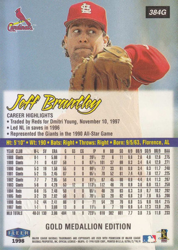 1998 fleer ultra gold medallion jeff brantley p cardinals
