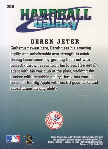 1998 metal universe hardball galaxy derek jeter ss yankees