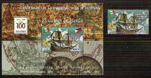 1998 mex 100 años independencia de filipinas hojilla y sello
