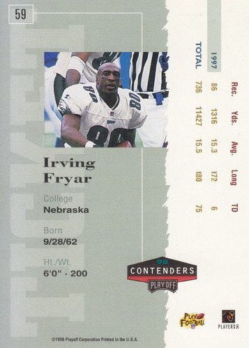 1998 playoff contenders red irving fryar wr eagles