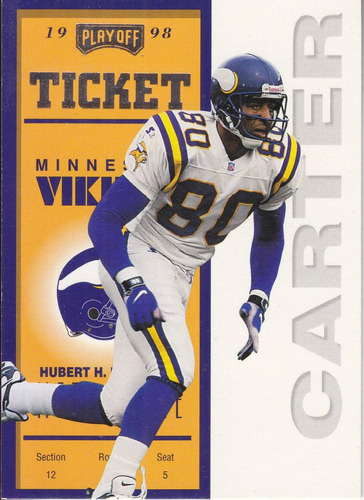 1998 playoff contenders ticket cris carter wr vikings
