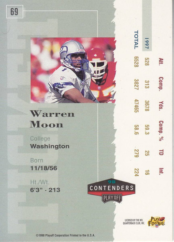 1998 playoff contenders ticket warren moon qb seahawks