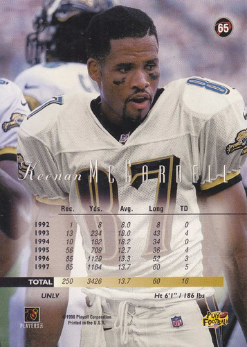 1998 playoff prestige keenan mccardell wr jaguars