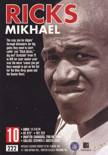 1998 skybox premium rookie mikhael ricks wr chargers