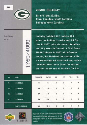 1998 spx finite new school vonnie holiday packers /4000