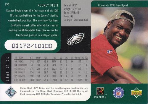 1998 spx finite rodney peete qb eagles /10100