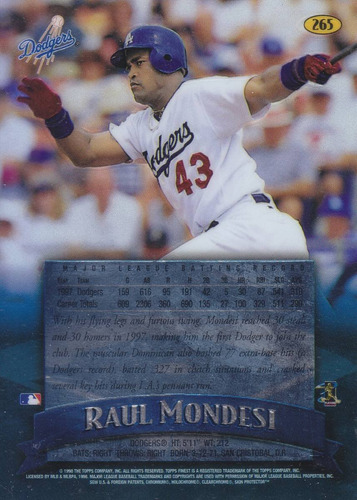 1998 topps finest no protector raul mondesi of dodgers