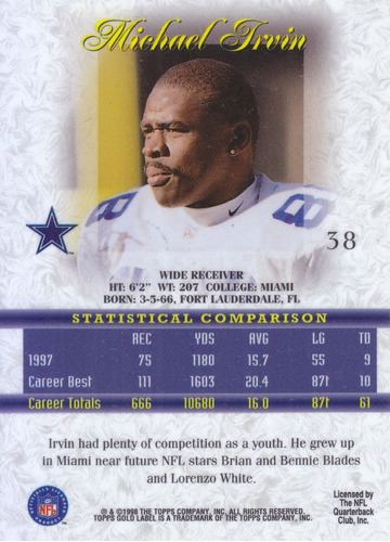 1998 topps gold label michael irvin wr cowboys