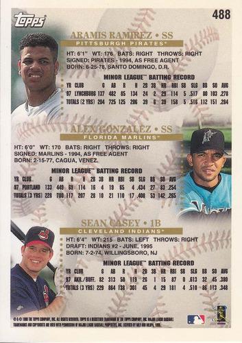1998 topps prospects aramis ramirez sean casey alex gonzalez