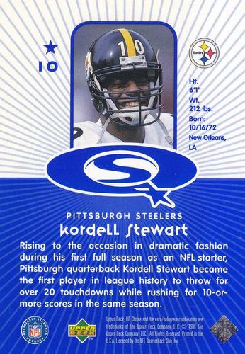 1998 ud choice starquest blue kordell stewart qb steelers