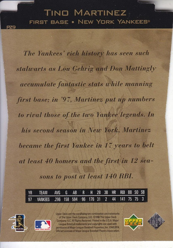 1998 ud special fx power zone driven tino martinez yankees