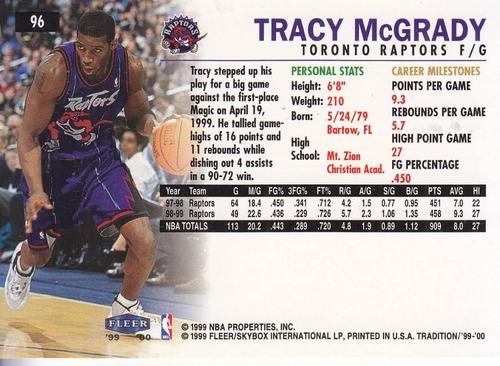 1999-00 fleer tradition tracy mcgrady raptors