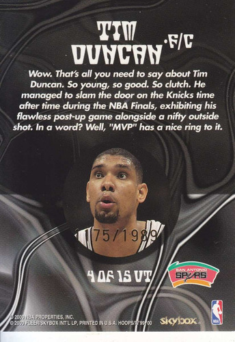 1999-00 hoops decade up´tempo paral tim duncan spurs /1989