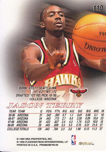 1999-00 skybox premium rookie jason terry hawks