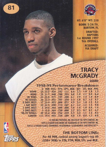 1999-00 stadium club chrome tracy mcgrady raptors