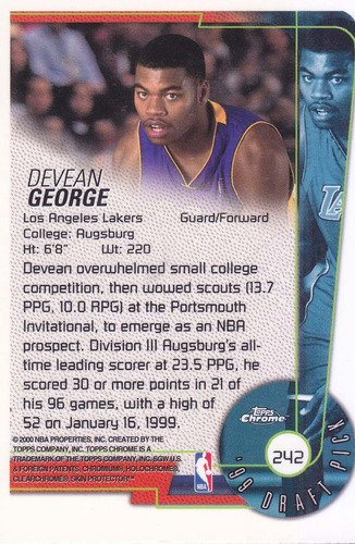 1999-00 topps chrome draft pick rookie devean george lakers