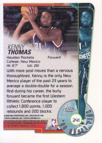 1999-00 topps chrome rookie kenny thomas rockets