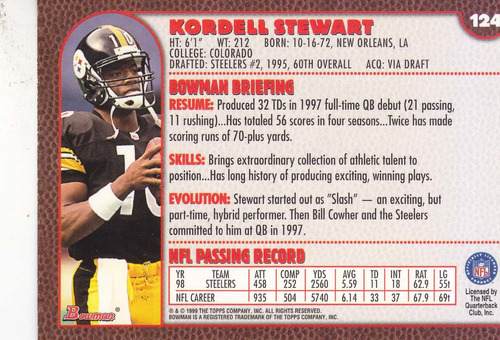 1999 bowman kordell stewart rb steelers