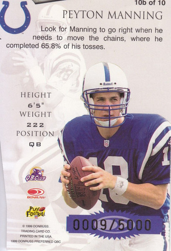 1999 donruss preferred chain reaction peyton manning 9/5000