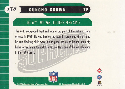 1999 edge supreme gold ingot rookie cuncho brown te saints
