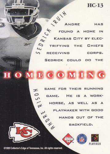 1999 edge supreme homecoming andre rison sedrik irvin chiefs
