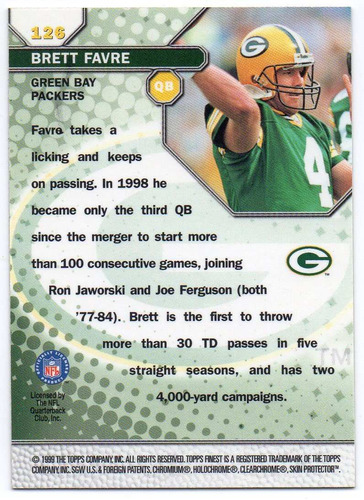 1999 finest gems brett favre green bay packers qb