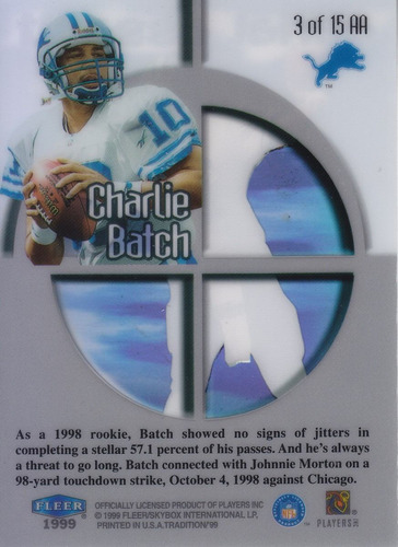 1999 fleer tradition aereal assault charlie batch qb lions
