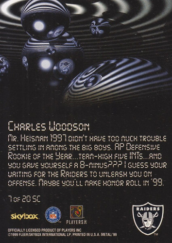 1999 metal universe starchild charles woodson raiders