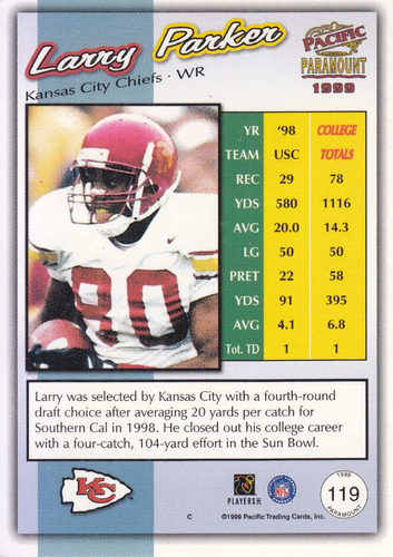 1999 pacific paramount rookie larry parker wr chiefs