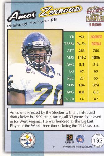 1999 paramount bronze rookie amos zereoue rb steelers
