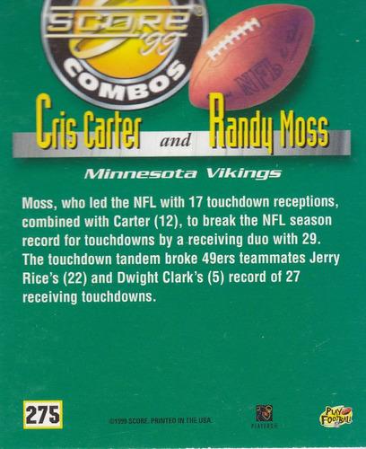 1999 score great combos cris carter randy moss wr vikings