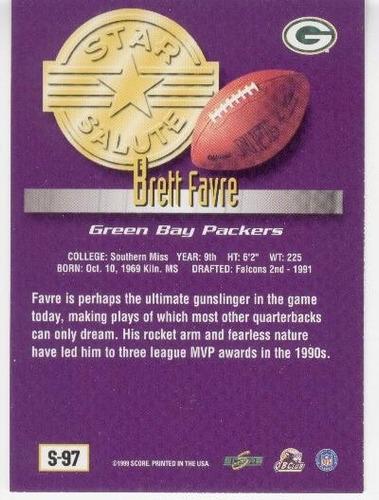 1999 score supplemental star salute brett favre packers