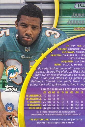 1999 stadium club rookie james johnson rb dolphins