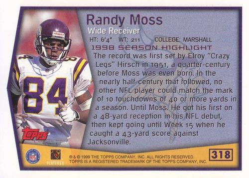 1999 topps sh randy moss wr vikings