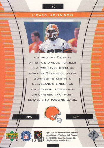 1999 ud black diamond rookie kevin johnson wr browns