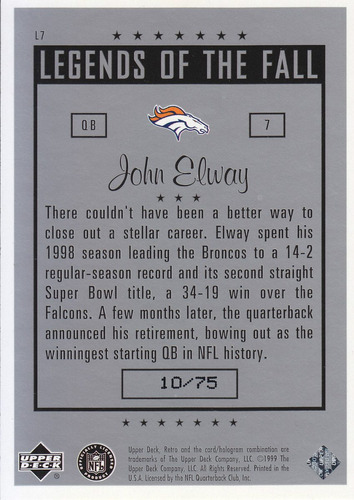1999 ud retro legends otf silver john elway 10/75 broncos sp