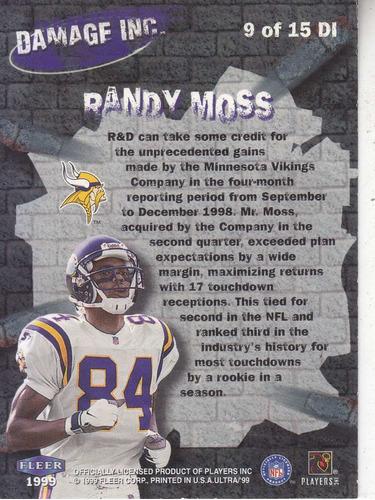 1999 ultra damage inc randy moss wr vikings