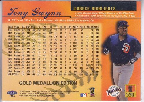 1999 ultra gold medallion tony gwynn padres