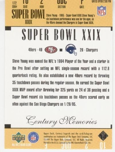 1999 upper deck century legends memories steve young 49ers