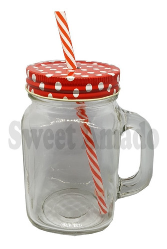 .1caneca mason jar 1 canudos 1 tampas coloridas sweet amado