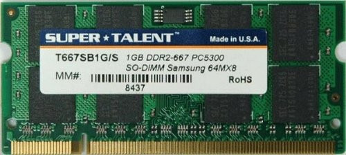 1gb supertalent t667sb1g/s pc2-5300 667mhz ddr2 laptop sodim
