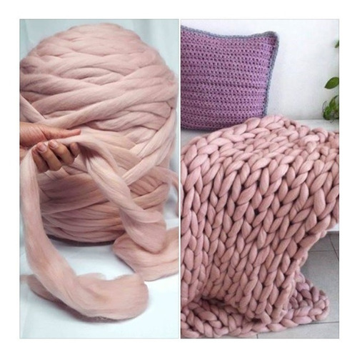 1kg estambre xxl gigante color fresa/ lana merino