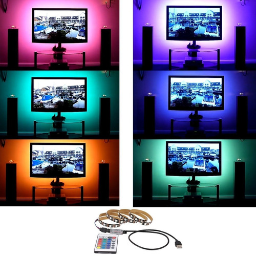 1m tira led tv rgb pantalla control remoto usb smart-tv