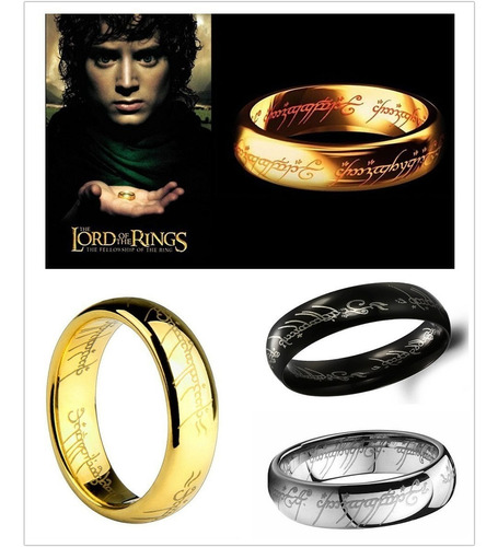 1x anillo señor de los anillos acero inoxidable hombre/mujer