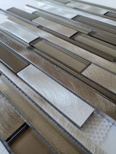 1x malla mosaico decorativa cenefa vidrio aluminio vidrio ib