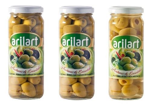2 aceitunas verdes + descarozadas x 200 gr arilart