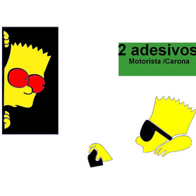 2 Adesivo Bart Dirigindo Motorista, Olhando Carona